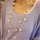Charming Women Double Layer Long Pearl Pendant Necklace Sweater Chain Jewelry