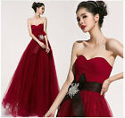 Fashion Sexy Red Wine Strapless Bride Bridesmaid Gown Lace-up Evening Dresses