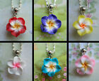 HIBISCUS FLOWER PENDANT NECKLACE NECKLACE POLYMER CLAY PINK WHITE PURPLE BLUE