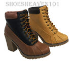 New Womens Ankle Lace Up High  Heels Work Snow Collared Forest-05 Boots