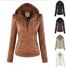 Women Fashion PU Leather Hooded Lapel Top Blouse Trench Blazer Jacket Coat