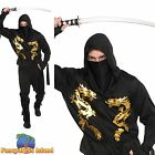 BLACK DRAGON NINJA SAMURAI ASSASIN ADULT Chest 41-46 Mens Fancy Dress Costume