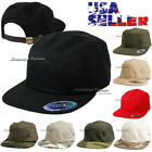 5 Panel Cadet Cap Plain Camo Biker Baseball Strapback Adjustable Flat Visor Hat