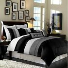 Black Grey and White Luxury Stripe Queen Size 8 Piece Bedding Comforter Set image