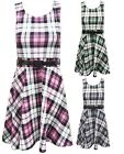 Ladies Belted Sleeveless Tartan Flared Belted Club Party Womens Skater Dress Top