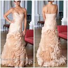 Terani E1371 Ruffled  strapless gown in champagene msrp$989 authentic vgowns1