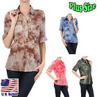 PLUS SIZE Tie Dye Button Down Collared Button Tabs Sleeve Shirt 3151M-BC2-X_O
