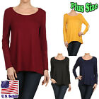 Plus Size Blouse Solid Color Round Neck Long Sleeve Hi-Low Top B293-2 SD_M