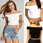 Womens Ladies Off Shoulder Crop Top Bardot Sleeveless Vest Short T-Shirt TXST