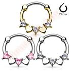 16G CZ Heart Round Septum Nose Clicker Ring Body Piercing Jewellery