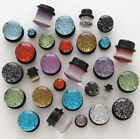 "Pair Heavy Gauges 5/8"" 16mm BRILLIANT Metallic Glitter Single Flared Ear Plugs"