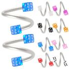 2P Spiral barbell twist rings tragus jewelry eyebrow bars 9ECQ-SELECT COLOR&SIZE