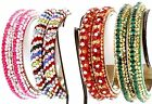 Indian Multi color Crystal Metal Bangle Bracelet Maroon Black White Gold Green