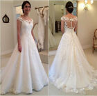 White Ivory A line Wedding Dresses Appliques Cap Sleeves Bridal Gown Size4 6 8++
