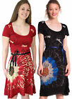 DESIGUAL PUERTO PLATA DRESS S-XXL 10-18 RRP£69 WINE BLACK FLARED JERSEY BELTED
