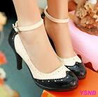 Hot Womens Patent Leather Pumps Heel Ankle Strap Brogue Wing Tip Stilettos Shoes