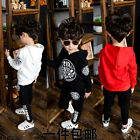 Children's Clothes New Boy Hooded Long-Sleeved + Two-Piece Trouser Suit 3 Color