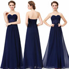 Women's Navy Blue Strapless Long Evening Party Formal Prom Dress 08864
