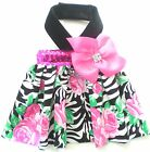 Pet Dog Clothing Zebra Stripe Pink Rose Bling Bling Bow Harness Dress XXXS-XL