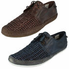 Mens Base London Tent Weave Leather Casual Lace Up Shoes