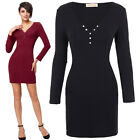 Womens V-Neck Long Sleeve Short Mini Bodycon Wiggle Dress Sexy Lady Tea Ballgown