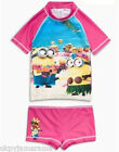 Girls NEXT Minions UPF 50+ Sun Safe Swimsuit 2 piece rash vest & shorts