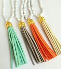 New Korean Style Pendant Necklace Colorful Leather Tassel Turquoise Beaded Chain