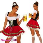 Ladies Beer Maid Costume Wench German Heidi Oktoberfest Gretchen Red Fancy Dress