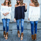 UK Sexy Women Off Shoulder Lace Strapless T-Shirt Summer Casual Loose Top Blouse