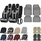 UAA HD Carpeted VAN Rubber Mats & Dual-Stitch Racing Polyester Seat Covers Set