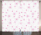 Floral Pattern with Daisies Flower Retro Home Decor Image Curtain 2 Panels Set