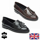 LUCINI WOMENS LEATHER FLAT SLIP ON FRINGE PUMPS SMART OFFICE LOAFERS SHOES