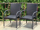 Set of 2 Patio Resin Outdoor Garden Deck Wicker Dining Arm Chairs. 3 Colors