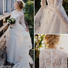 Plus Size Modest White Lace Wedding Dressrs Long Sleeve A Line Bridal Gowns 2017