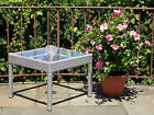 Patio Outdoor Wicker Side End Square Small Coffee Table w/ Glass