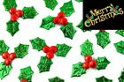 20-500 Christmas Holly & Berry Leaves Fabric Embellishments, Craft BU1089