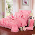 Peony Embroider 100%Cotton Quilt Doona Pillowcases Set Queen/King Size Comforter