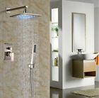 "10"" Bathtub Rainfall Shower Faucet LED Light Wall Mount Brushed Nickel  Mixer"