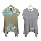 NWT Chelsea & Theodore short sleeve Sharkbite Style Top Stretchy Tunic Shirt $58