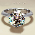 4CT ROUND CUT DIAMOND SOLID STERLING SILVER ENGAGEMENT RING STK-L ∆