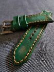 Handmade Vintage Green Leather Strap Band for big watch.