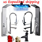 "60"" Stainless Steel Shower Tower LED ORB Shower Head Spray Swivel Kitchen Faucet"