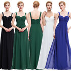 Long Chiffon Blue Bridesmaid Evening Prom Dress Black Cocktail Gown 4 6 8 10 12+