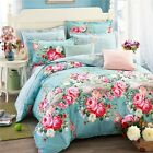Cotton Peony Duvet Doona Quilt Cover Set King Single Queen Size Floral Bed Cover
