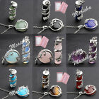 Dragon Wrap Cylinder Flat Circle Natural Gems Pendant Stainless Steel Necklace