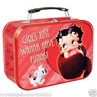 10070 Betty Boop Girls Just Wanna Have Funds Large Tin Tote Lunch Box Storage