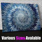 AB283 Blue Silver Swirl Design Canvas Wall Art Ready to Hang Picture Print X
