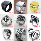 Mens Retro Stainless Steel Heavy Ring Biker Punk Skull Outlaw Motorcycle Jewelry