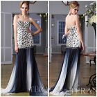 NWT TERANI GL1413 PAGENT STRAPLESS GOWN BEADED TOP WITH OMBER SILK SKIRT $1188