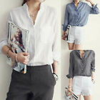 Women's Ladies Summer Loose Long Sleeve Casual Cotton Shirt Tops Fashion Blouse